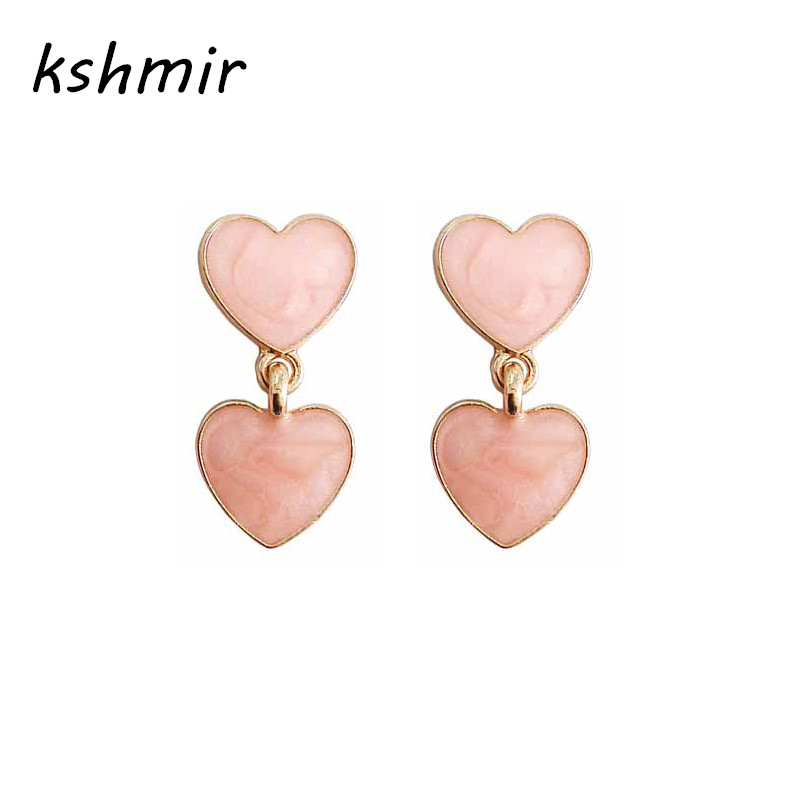 kshmir Drip heart-shaped earrings Peach heart earrings Heart-shaped pendant The girl deserve to act the role of gift