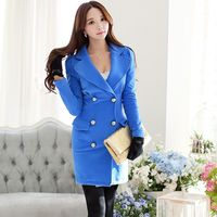 Fashion Dress Pink Doll Winter 2014 New Lapel Double Breasted Long Sleeved Dress Female