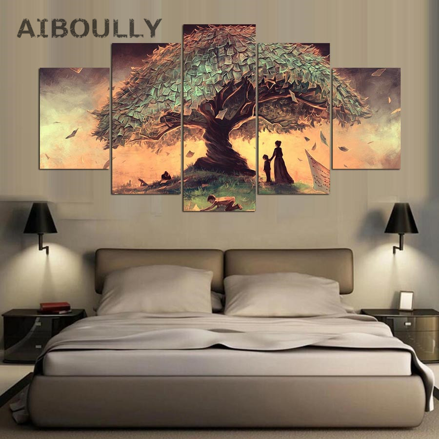 5 Panel Wishing Tree Modern Canvas Wall Painting Abstract Modular Picture Hoom Decoratio ...