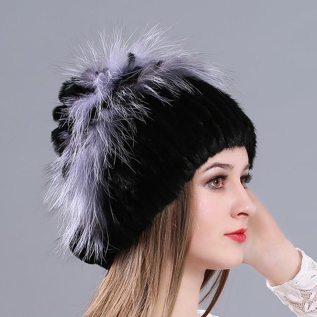 2017 casquillos del invierno gorros sombreros de piel de zorro plateado de  piel de visón sombrero be97bd7d55f3
