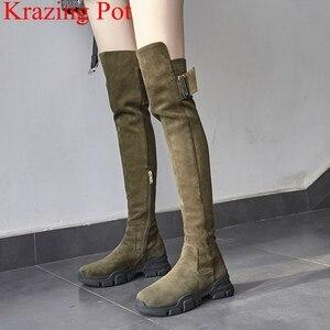 Image 1 - 2020 superstar buty zimowe platforma kid suede zipper wedge over the buty do kolan kobiety klamra biuro lady zakolanówki buty L04