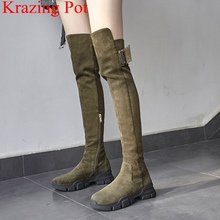 2020 superstar winter shoes platform kid suede zipper wedge over the knee boots women buckle office lady thigh high boots L04