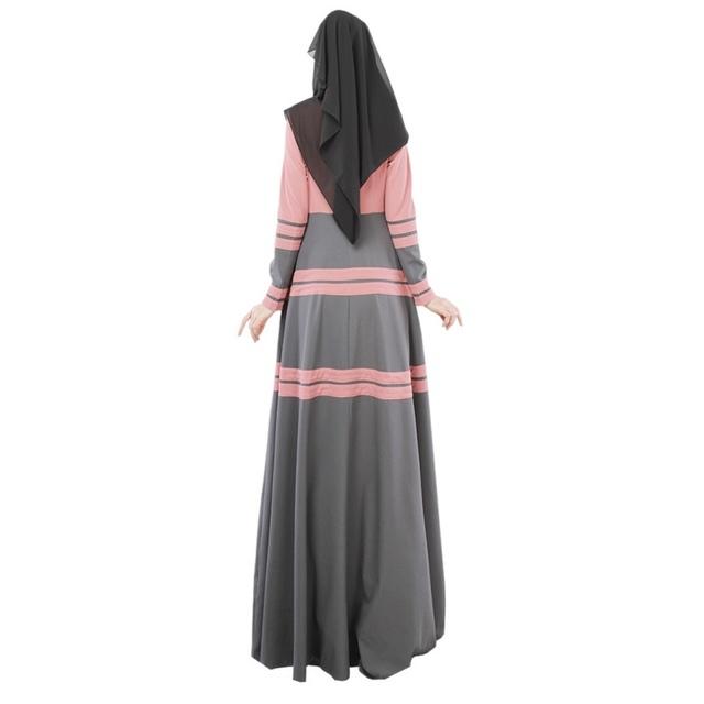Women Abaya Jilbab Muslim Kaftan Dress Long Sleeve Pleated Maxi Long Dress
