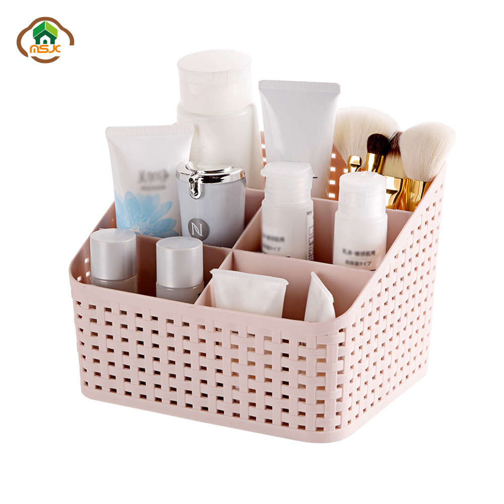 Msjo Makeup Organizer Box For Cosmetics Desk Office Storage Skin Care Case Lipstick Case Sundries Make Up Jewelry Organizer Box(China)