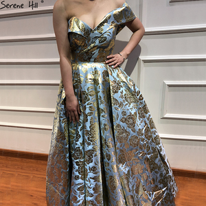 Image 3 - Newest Designer Embroidery Long Dress Evening 2020 Sexy Off Shoulder Fashion Evening Gowns Serene Hill LA6525