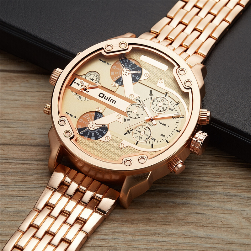 Oulm Male Military Watches Golden Oversized Big Quartz Watch Top Brand Men Full Stainless Steel Wristwatch relogio masculino big face original oulm 9316b brand japan movt quartz dz watch large men dual time male imported reloj hombre relogio masculino