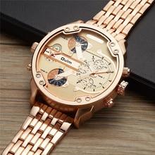 Oulm Militar Masculino Oversized Big Quartz Watch Top Marca de Relógios de Ouro Homens Completa de Aço Inoxidável relógio de Pulso relogio masculino