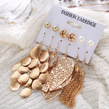 Bohemian Long Gold ใบ Multilayer Sequins ต่างหูชุด Pearl 11.22(China)