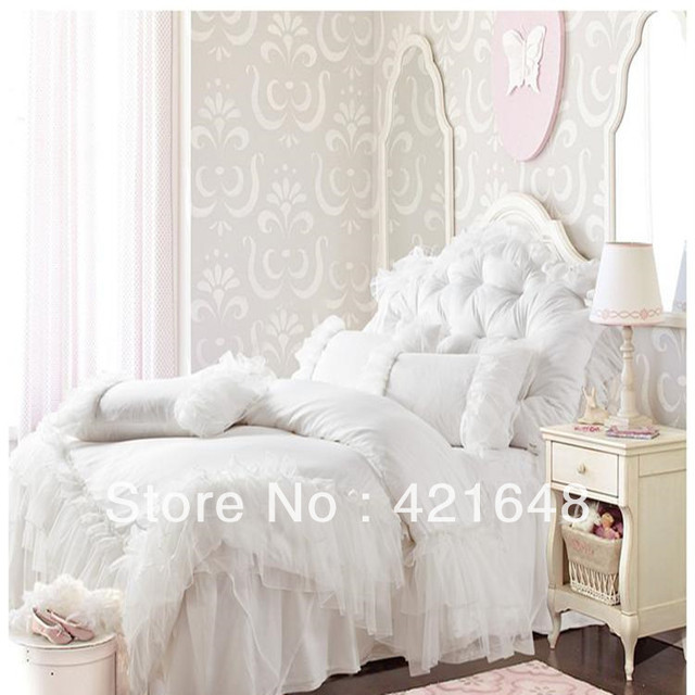Free Shipping!Romantic white pink falbala ruffle lace bedding set solid color princess duvet cover set full/queen bed set
