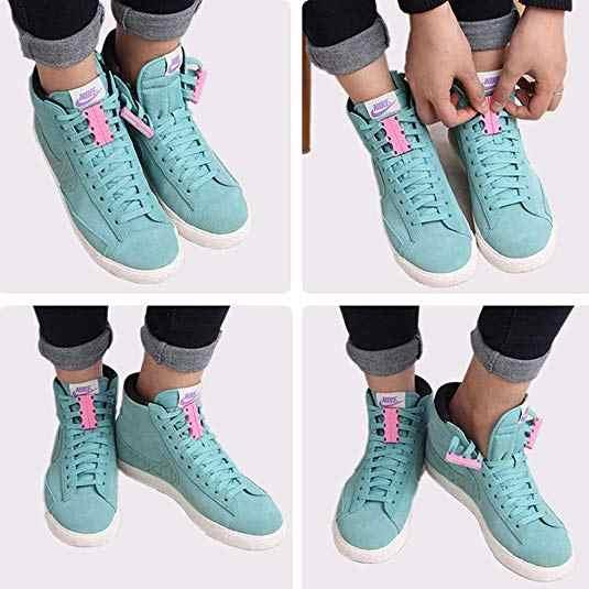 2 - แพ็คคู่แม่เหล็กหัวเข็มขัดรองเท้ารองเท้าผ้าใบพลาสติก Shoelaces ปิดแม่เหล็ก Lacing Solution No - Tie ระบบหัวเข็มขัด