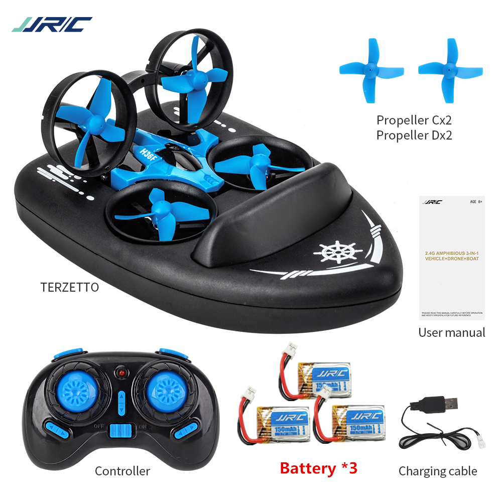 JJRC H36F 3in1 Mini Drone RC Drone Quadcopter/Vehicle/Hovercraft Boat Kids Toys For Sea Land And Air Dron VS JJRC H36 E010