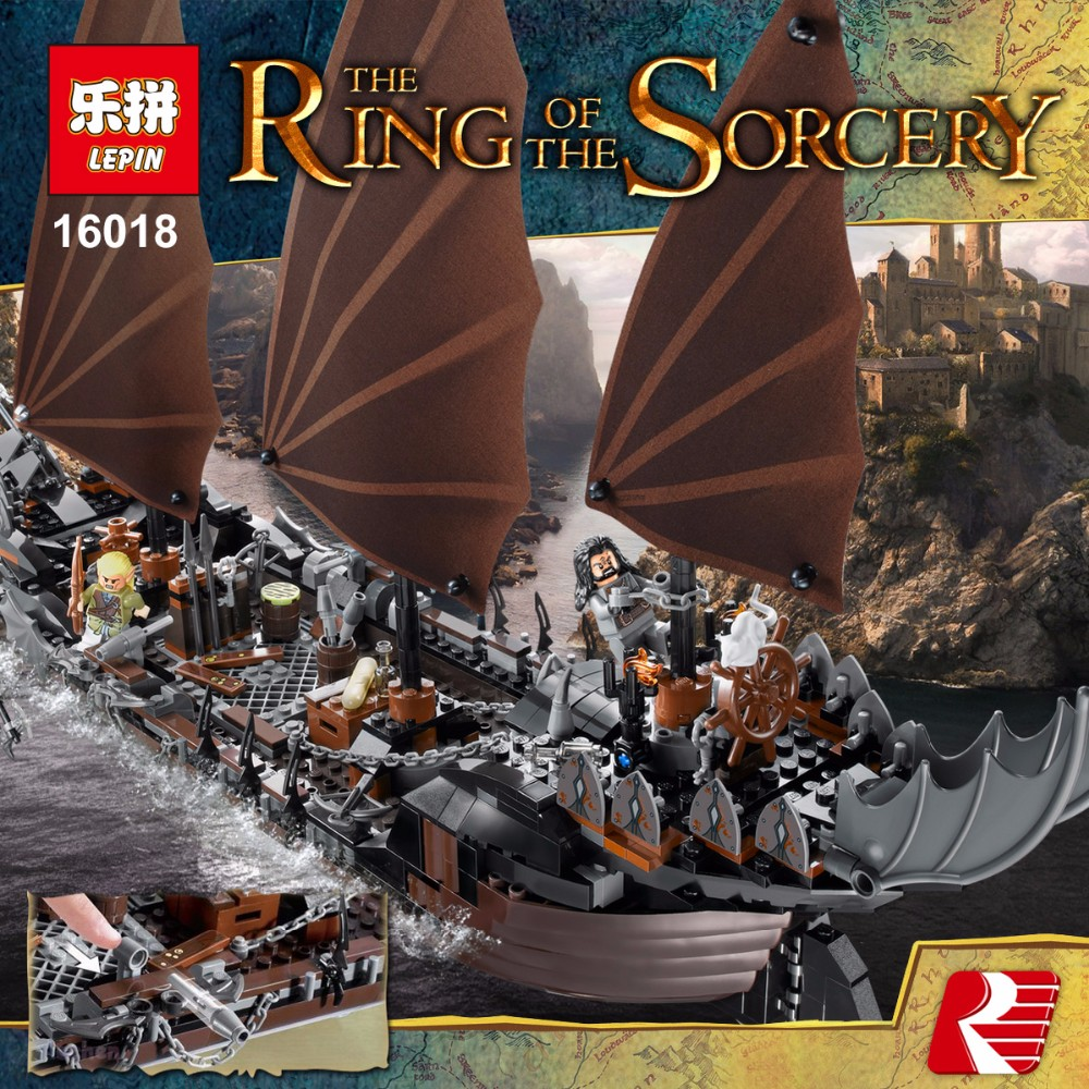 Lepin 16018 756Pcs Genuine The lord of rings Series The Ghost Pirate Ship Set Building Block Brick Toys Compatible legoed 79008 lepin movie series ghost pirate ship 16018 756pcs building block for children toys 79008 compatible legoe pirate ship