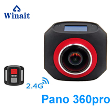 Winait New style action sport camera 360degee viewing Available for Facebook 4k 15fps 32GB remote control sport camera camcorder