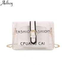 Aelicy 2019 Fashion Transparent Messenger Bags Simple Fashion Shoulder Bag Small Square Tote Bags For Women Mobile Phone Bag(China)
