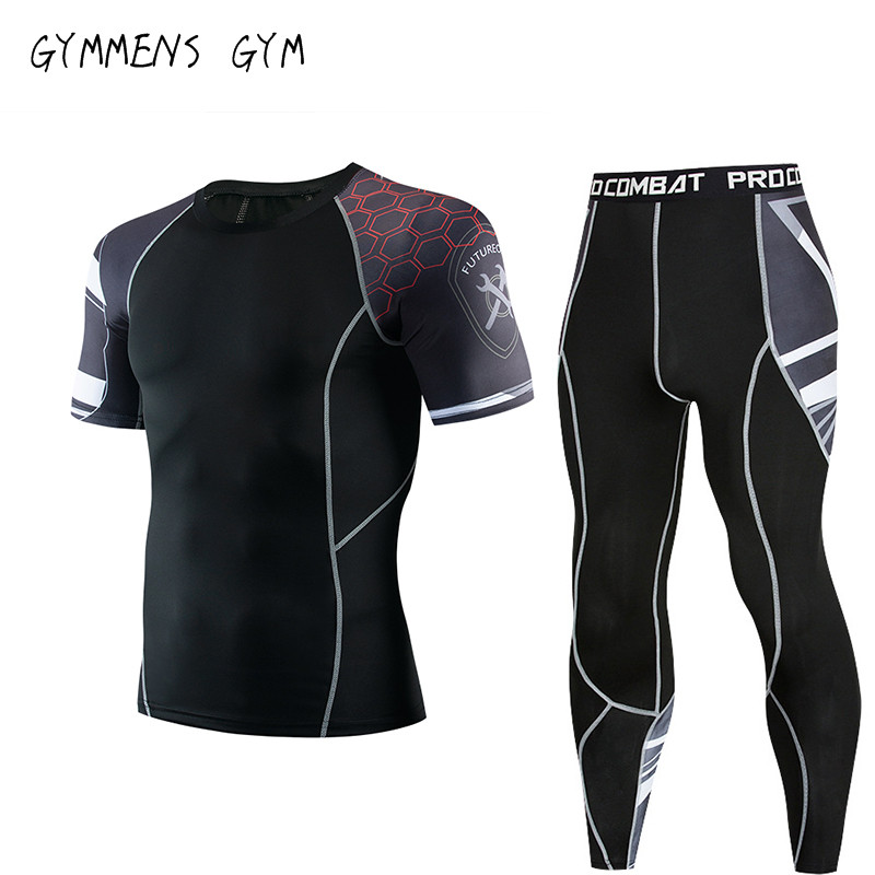 Men's Sports Short Sleeve + Trousers Suit Compression Clothing MMA Fitness Training Suit Men's Quick-drying Clothes Sportswear