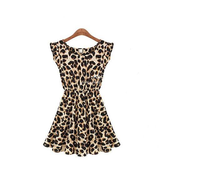 S-xxxl, 2014 nova Fashon mulheres Casual Ruffles Sleeve verão vestido plissado do vestido do leopardo, Plus size, C0154