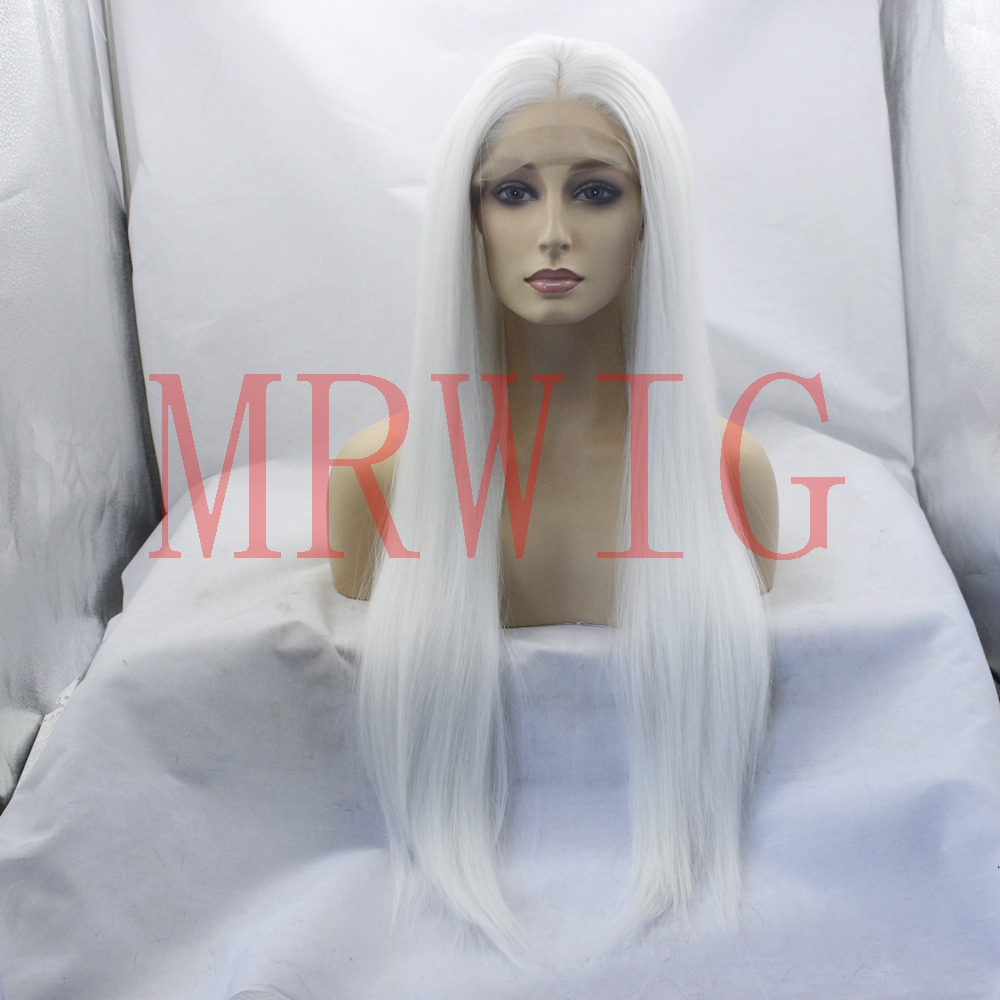 Real Picture Glueless Synthetic Lace Front Wigs Middle Part White Color Long Straight Half Hand Tied Replacement