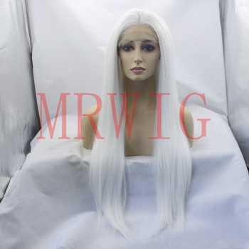 Real Picture Glueless Synthetic Lace Front Wigs Middle Part White Color Long Straight Half Hand Tied Replacement - DISCOUNT ITEM  40% OFF All Category