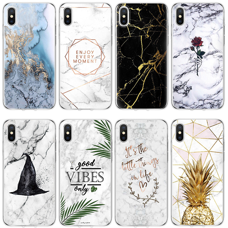 Marble For Samsung Galaxy A8 J3 J5 J7 S6 S7 S8 S9 Plus A40 A50 A70 For Coque IPhone 11 Pro Max XS XR X 7 8 6 6S Plus Case Cover