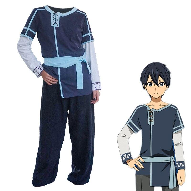 Anime épée Art en ligne alicisation Cosplay Costume Kazuto Kirigaya Eugeo hommes vêtements quotidiens chemise et pantalon ensemble complet