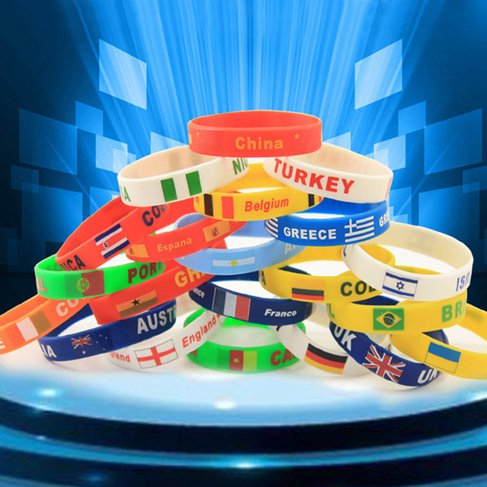 National Flag Silicone Bracelet Fan Cheerleading Bracelets Memorial bracelet Football gift dropshipping 2018 World  Russia ...