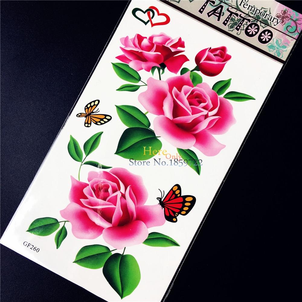 ᗐ1 Unid Impermeable Cuerpo Arte Pintura Rosa Tatuaje Temporal