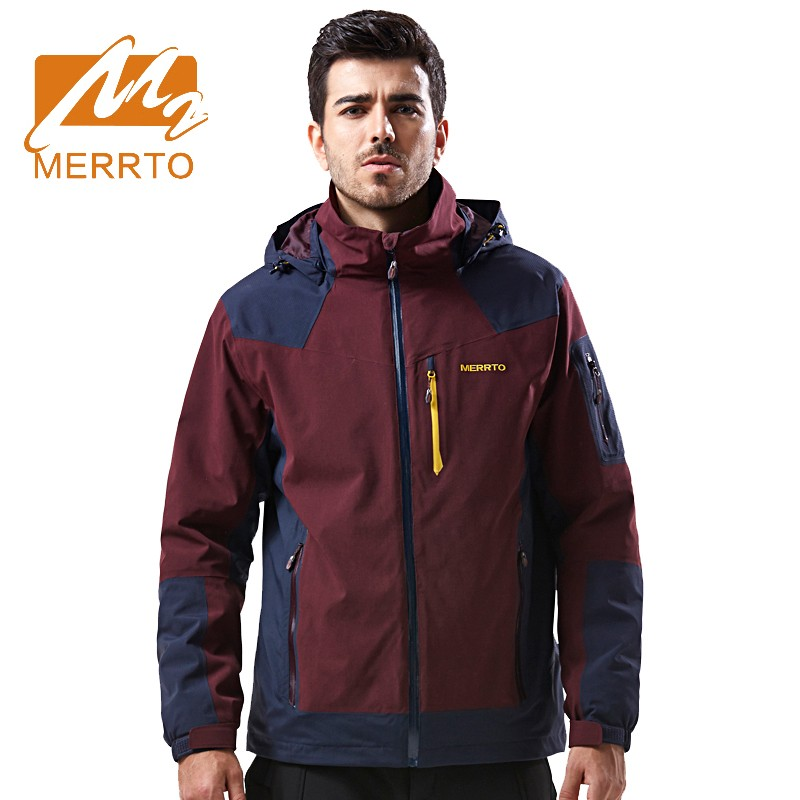 2017 Merrto Mens Waterproof Windproof Sports Jackets Camping Hiking Jackets Warmth Outdoor Jackets For Men Free Shipping MT19190 2017 merrto mens hiking boots waterproof breathable outdoor sports shoes color black khaki grey for men free shipping mt18638