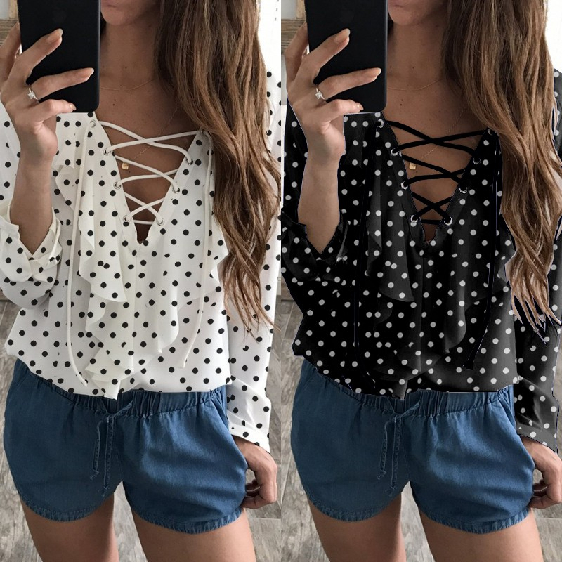 2018 Fashion Spring Summer Women Chiffon Blouse Sexy Lace Up V Neck Ruffles Long Sleeve Black White Tops Casual Plus Size Shirts 2