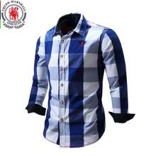 2020 New Men 100% Cotton Plaid Shirt Long Sleeve Slim Fit Dress Shirts Casual Fashion Business Social Shirt Plus Size M 3XL 099