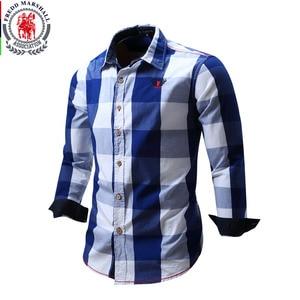 Image 1 - 2020 New Men 100% Cotton Plaid Shirt Long Sleeve Slim Fit Dress Shirts Casual Fashion Business Social Shirt Plus Size M 3XL 099