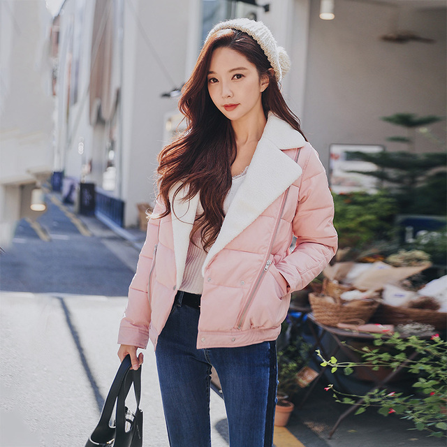 Dabuwawa New Women Autumn Winter Short Parkas Coats Fashion Slim Lapel Cotton Top Coat Outerwear Pink Green Black D18DPD004