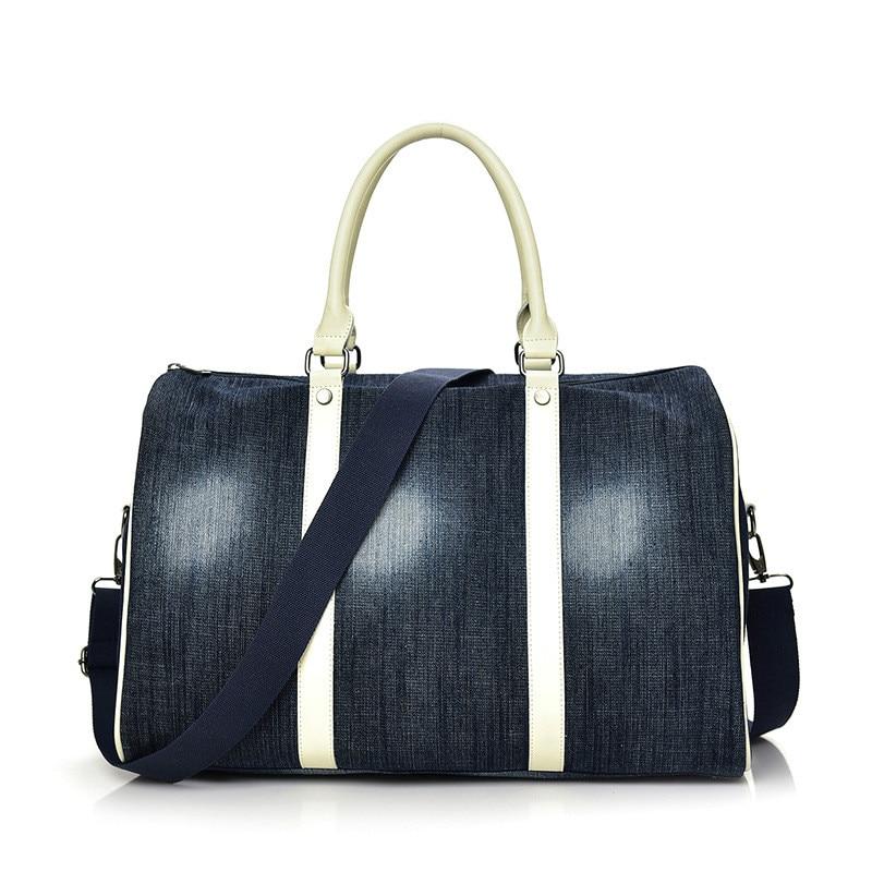 New denim women's travel bag Large-capacity all match multi-function bag
