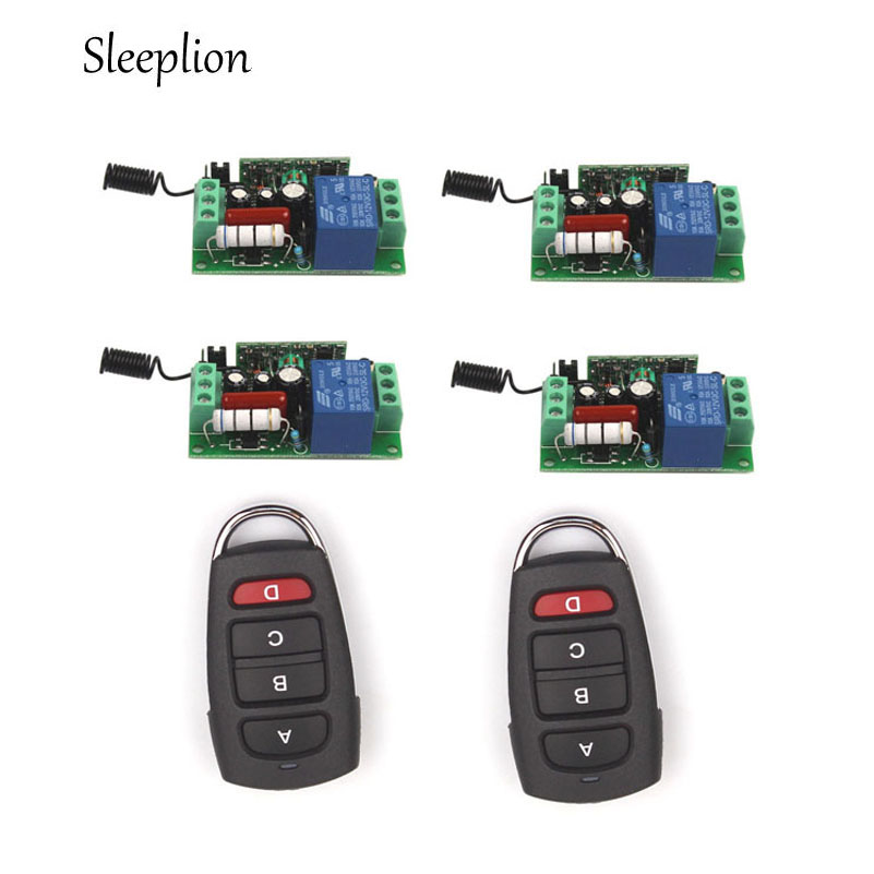 Sleeplion 220V 10A 1CH Relay 2 4-car-key wireless RF Remote Control Switch Transmitter+4 Receiver ON/OFF 315MHz 433MHz 27mhz 2 ch 1 14 scale a key switch doors steering wheel remote control car w lamp yellow black