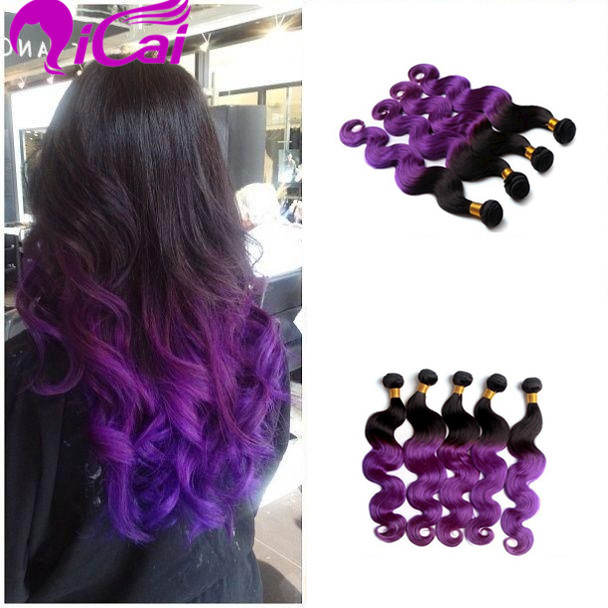 Ombre 2 Tone 1bpurple Hair Weaves Brazilian Virgin Remy Human Hair
