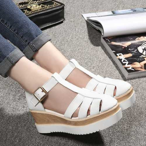 454bb8d918f Women s Roman Sandals 2015 Fashion T-belt Buckle Strap Closed Toe Platform  Sandals Cutouts High Heels Flat Platform Shoes