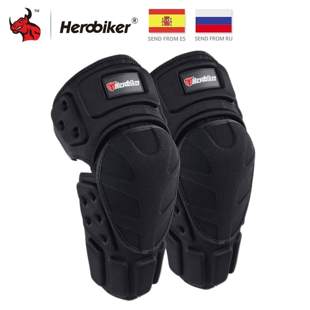 цена на HEROBIKER Motorcycle Knee Pads Motocross Knee Protector Protective Guards Moto Knee Brace Support MTB Ski Protective Gear Black