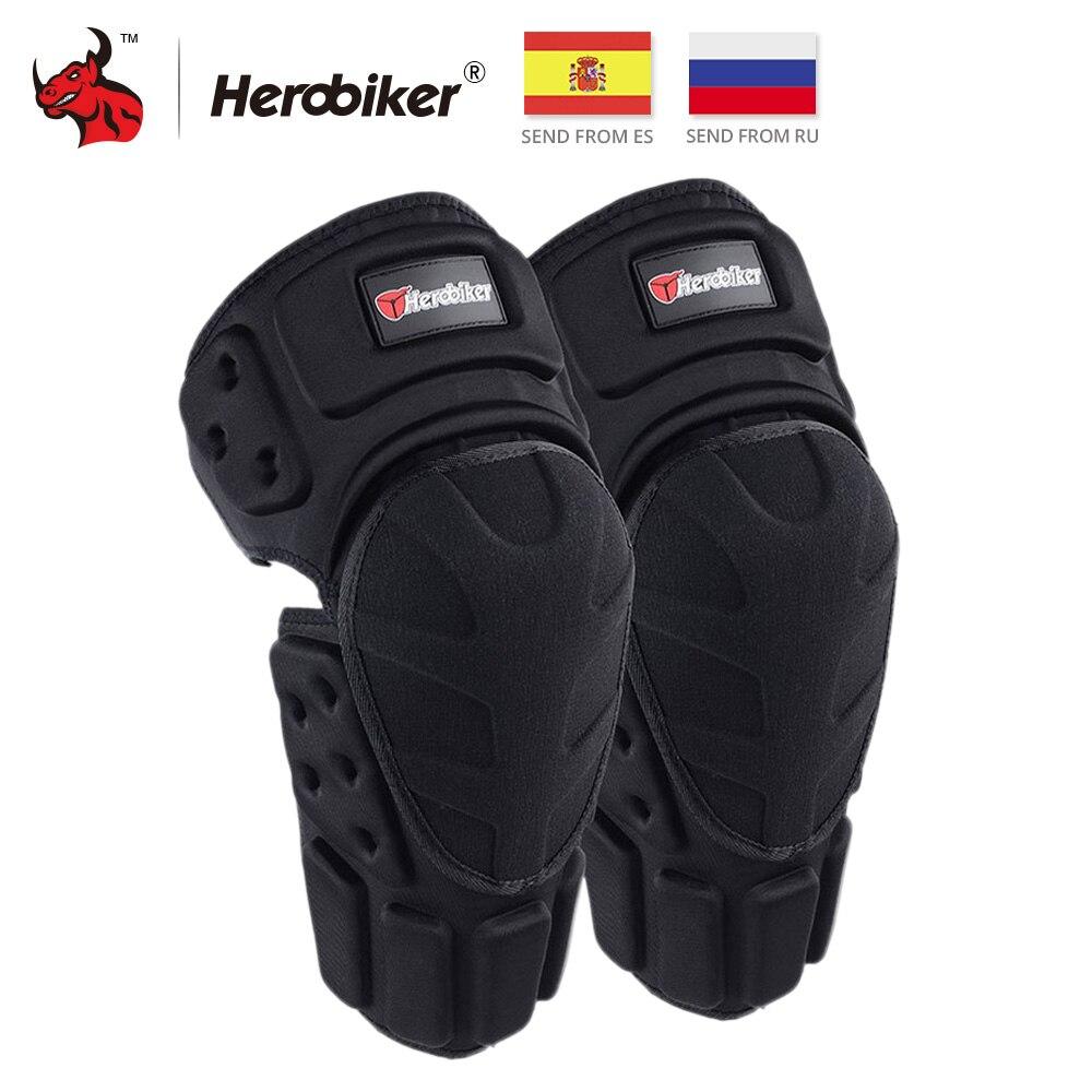 HEROBIKER Motorcycle Knee Pads Motocross Knee Protector Protective Guards Moto Knee Brace Support MTB Ski Protective Gear Black