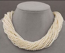 women gift Jewelry Silver Clasp 17INCH AAA Design 12 strands real charming AAA south sea white pearl necklace