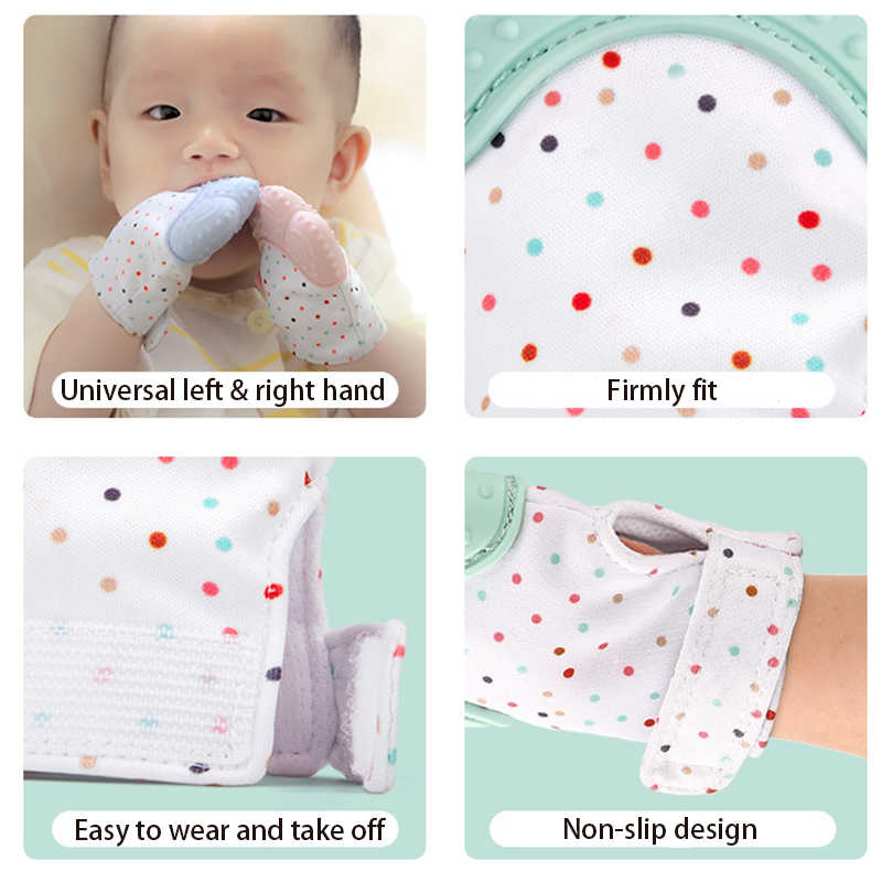 Детские Силиконовые варежки перчатка для режущихся зубов перчатки звуковое зубное кольцо жевательные варежки для кормления Прорезыватель натуральный стоп сосание большой палец игрушка