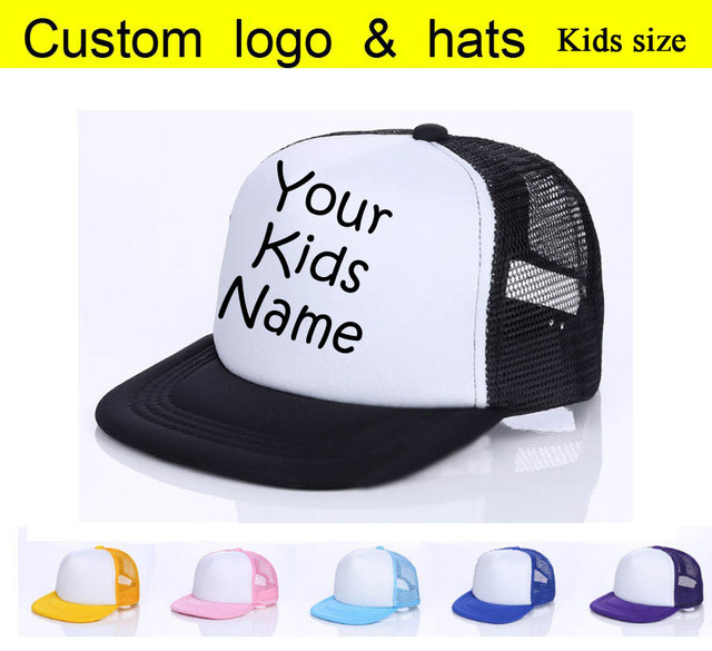 2018 Kids Baby Child Name Custom Trucker Hat Printed Name Children Baby Son  Daughter Custom DIY Cap Summer Baseball Cap Gift da44305a445