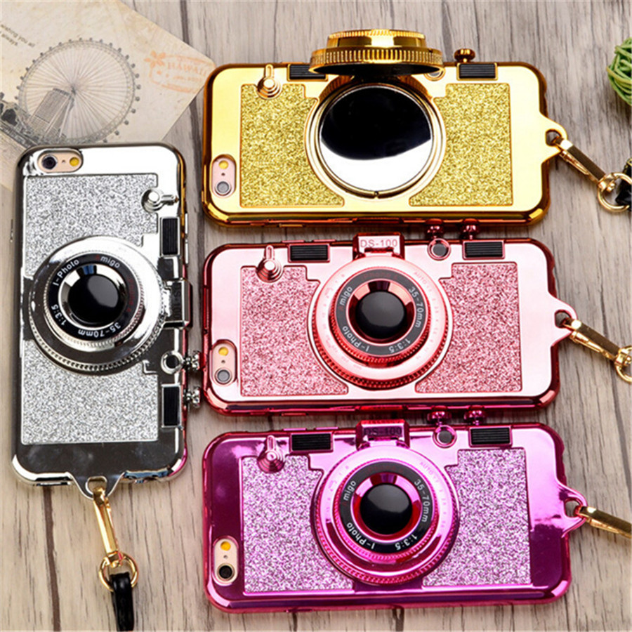 UVR Luxury camera style with chain mirror phone stand holder leather chain for iphone 6 6s phone cases Cover Mobile phone case