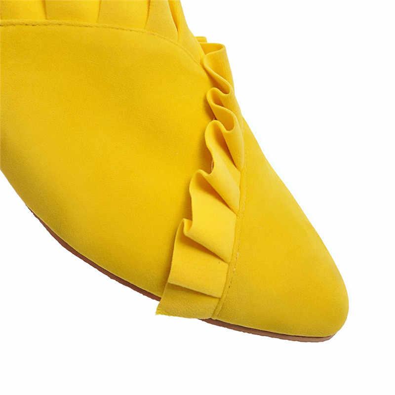 MoonMeek artı boyutu 34-46 yeni ayakkabılar bayan sığ katır ayakkabı kadınlar Casual flats kadın slingback günlük ayakkabı kadın