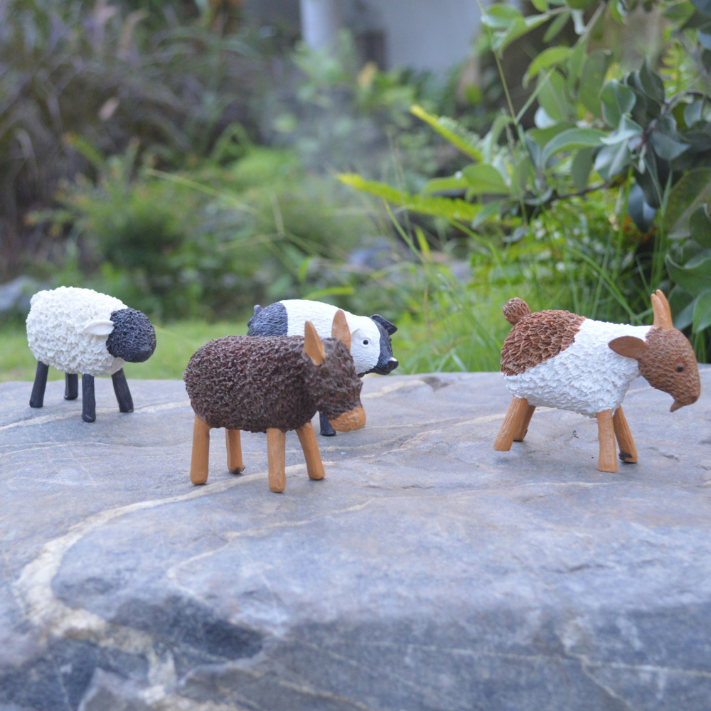 Donkey ornaments - 4pcs Set Home Garden Resin Micro Crafts Small Pig Sheep Donkey Goat View Succulents Flower