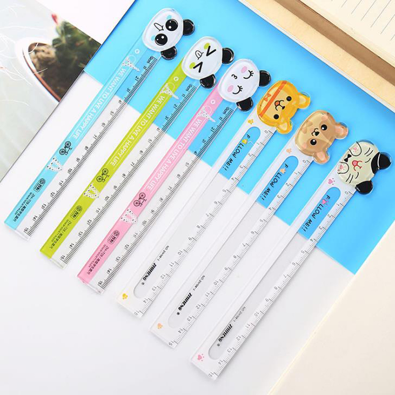 3 Pcs/set Cute 15cm Animal Panda Cat Transparent Plastic Straight Rulers Bookmark Drawing Painting Learning Ruler Stationery