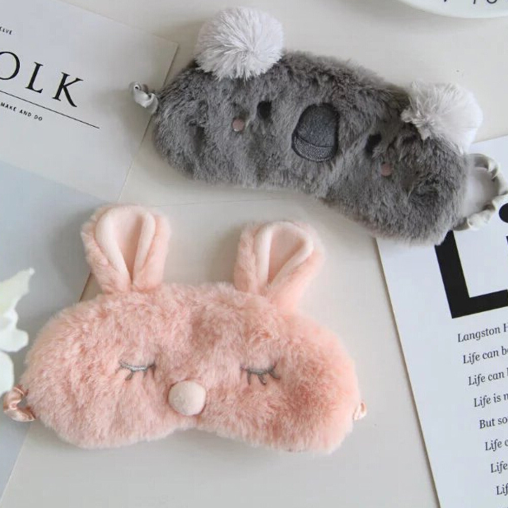 1PC Cartoon  Koala/bunny Sleep Eye Mask Nap Plush Eye Shade Bandage Rest Travel Relax Sleeping Aid Blindfold Ice