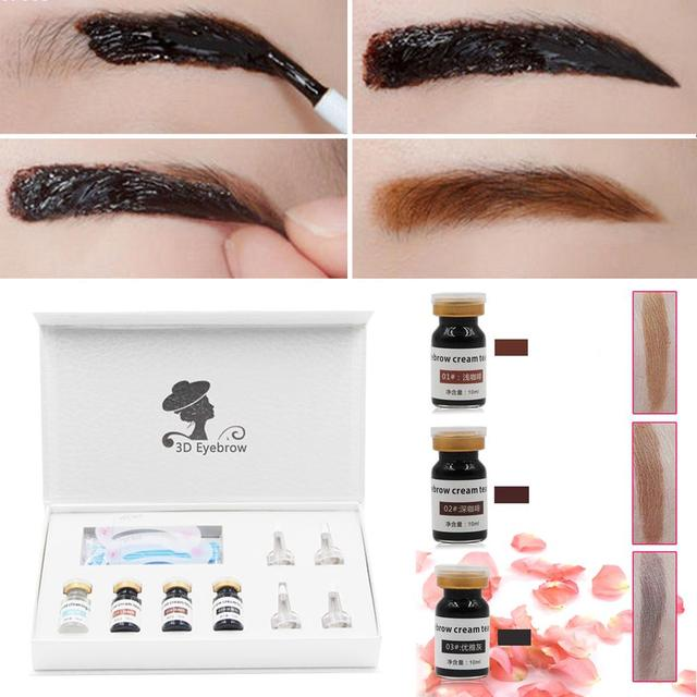 Peel off Eyebrow Enhancer With Eyebrow Drawing Card Gel Tattoo Eyebrow Cream Dye Color Natural 3D Long Lasting Makeup set A2