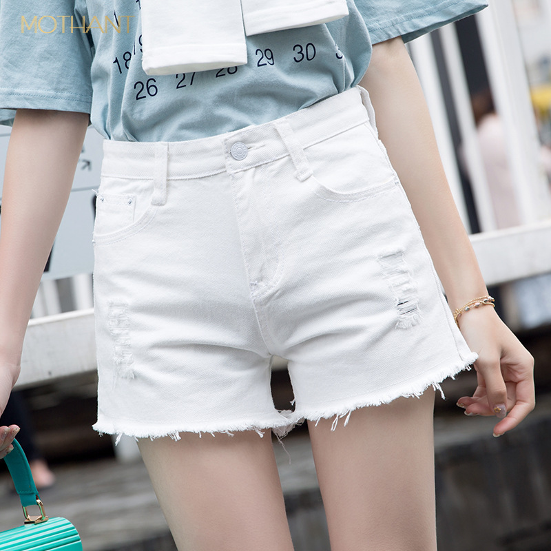 Summer Women's Short Jeans Super Short Cool Still Sexy Hairy Hole Nightclub Wild Women's Jeans Personality Rose Decals