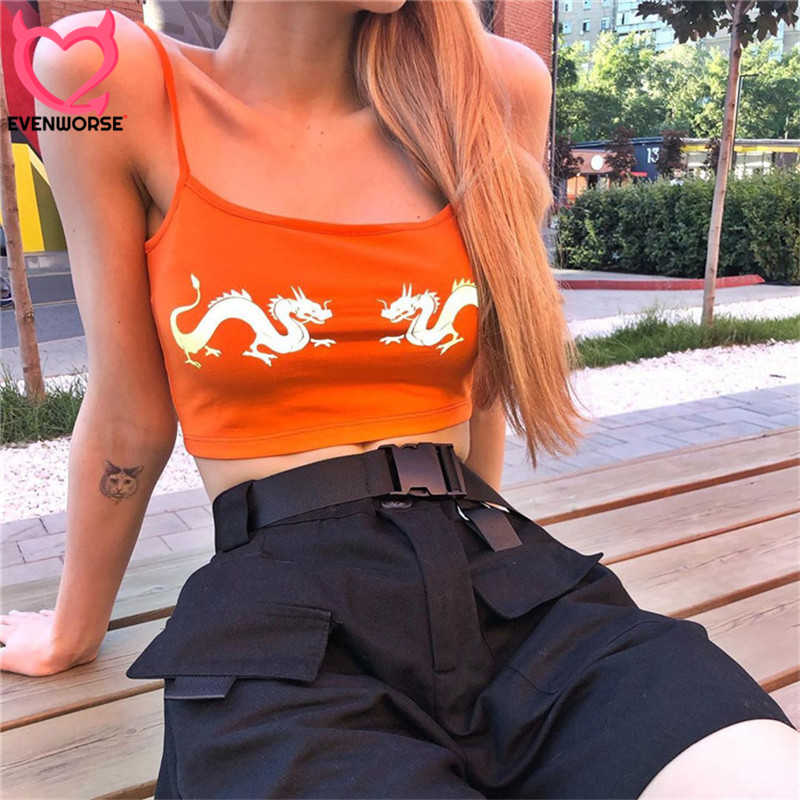 Evenworse 2019 summer tank top women spaghetti straps printed dragons reflective tank tops body camis streetwear