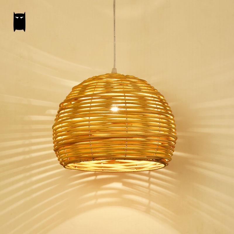 Round Wicker Rattan Shade Pendant Light Fixture Rustic Asian Japanese Hanging Lamp Luminaria