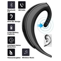 OVEVO Q12 Wireless Bluetooth 4.2 Earphone Single Over Ear Headset with Mic Handfree Business Meeting Driving Call Earphone